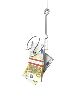 Pack of euro on a fishing hook, isolated on white background