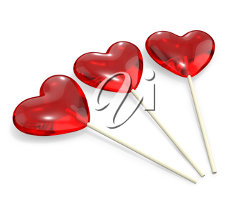 Three heart shaped lollipops, isolated on white background