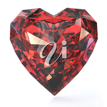 Heart shaped ruby, isolated on white background