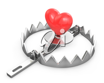 Red heart in a bear trap, isolated on white background