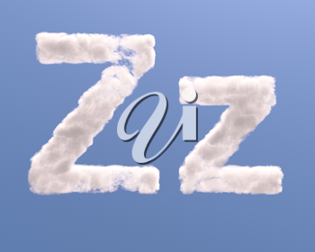 Letter Z cloud shape, isolated on white background