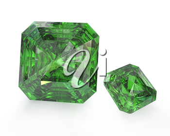 Two green emeralds, isolated on white background