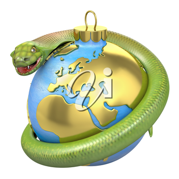 Cobra on a christmas bauble, Europe part, isolated on white background