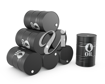 Pyramid of oil barrels and single barrel, isolated on white background