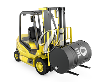 Yellow fork lift lifts oil barrel, isolated on white background