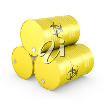 Three yellow barrels with biohazard symbol, isolated on white background