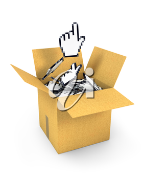 Hand cursor flies from box of cursors, isolated on white background