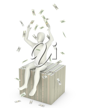 Abstract white man throws dollars, isolated on white background