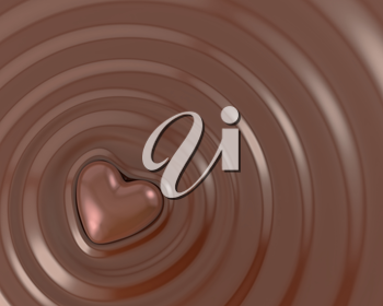 Shiny chocolate heart in a hot chocolate