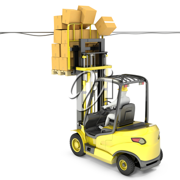 Fork lift truck with high load hits wires, isolated on white background