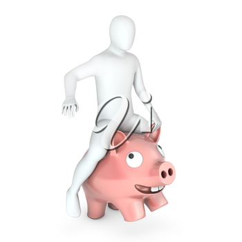 Abstract white man holds rides on piggy bank, isolated on white background