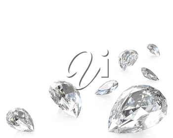 Few pear cut diamonds, isolated on white background
