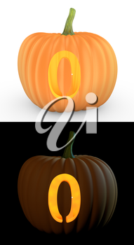 Number 0 carved on pumpkin jack lantern isolated on and white background