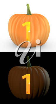 Number 1 carved on pumpkin jack lantern isolated on and white background