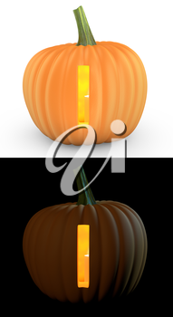 I letter carved on pumpkin jack lantern isolated on and white background