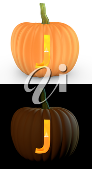 J letter carved on pumpkin jack lantern isolated on and white background