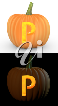 P letter carved on pumpkin jack lantern isolated on and white background