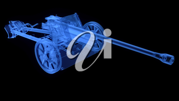 X-ray of artillery cannon on black background