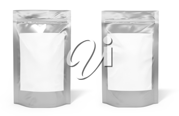 Foil bag package with blank space for label