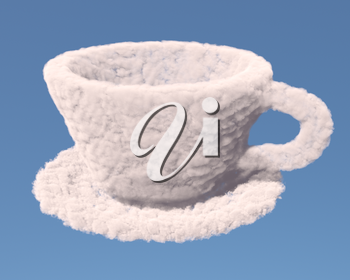 Empty cup with tea plate made of clouds on blue background