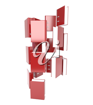 Set of red folder isolated on white background. Directory tree. 3d illustration.