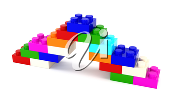 Set of multicolored plastic parts designer isolated on a white background. 3d illustration.