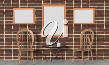 Mock up interior. Brick wall, coffee table with cups, paintings and wooden chairs. 3d rendering