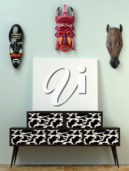 Mock up interior. Wooden bollard on high legs and bright leather fronts. Wooden African mask on the wall. 3D-rendering.