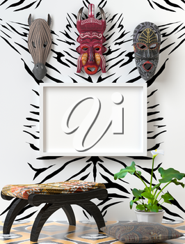 Mock up Tribal interior. Wooden chair with soft colorful pillow. Wooden African masks on the wall, on the wall of a zebra. Green calla on bright floor. 3D-rendering.