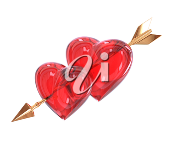 Two Red heart pierced by a golden arrow isolated on white background. Cupid's arrow. 3d illustration.