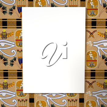 Bright white canvas on a bright background with the Egyptian ethnic ornament. Tribal background. 3d rendering.