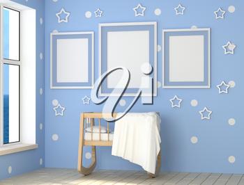 Mock up a child's room interior. Blue Room for a baby boy a lot of daylight. Wooden cradle, pillow and blanket. 3d rendering.