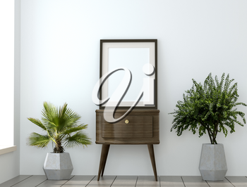 mock up with empty frame and plants in the granite vases. 3D illustration. 3D rendering of an abstract mock up poster