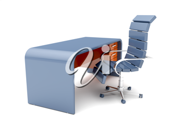Royalty Free Clipart Image of a Chair and Desk