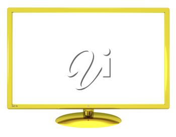 Royalty Free Clipart Image of a Gold Rimmed Television Screen
