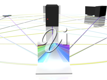 Royalty Free Clipart Image of a Computer Network