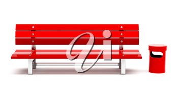 Royalty Free Clipart Image of a Red Bench and Garbage Bin