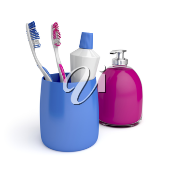 Toothbrushes, toothpaste and liquid soap