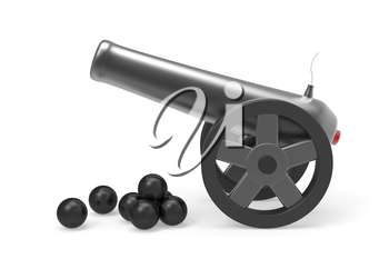 Cannon with black bombs on white background