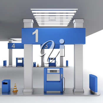 Front view of fuel pump in petrol station