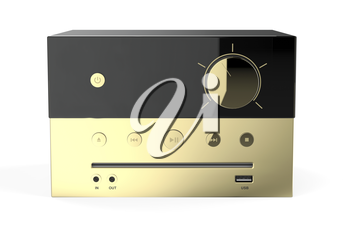Front view of golden mini audio system