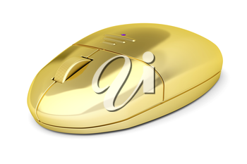 Golden wireless computer mouse on white background