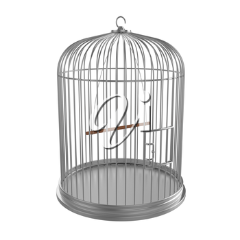 Silver bird cage isolated on white