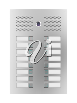 Royalty Free Clipart Image of an Intercom With a Camera