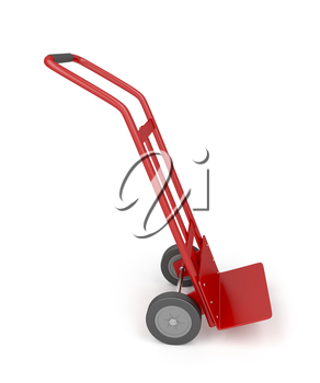 Metal empty hand truck on white background