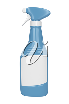 Blue spray bottle with empty label on white background
