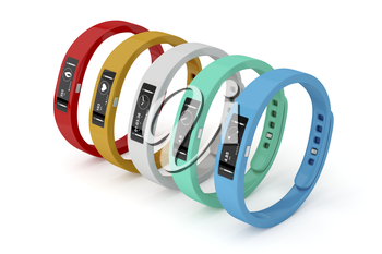 Fitness trackers with different interfaces and colors