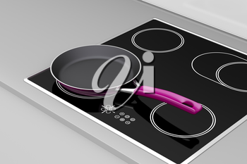 Frying pan at the induction cooktop