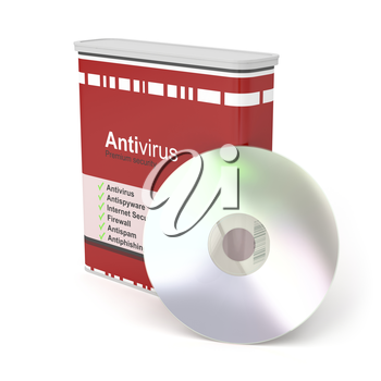 Antivirus software box and disc on white background