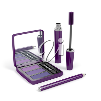 Eye make-up set with mascara, eye shadow and eye pencil